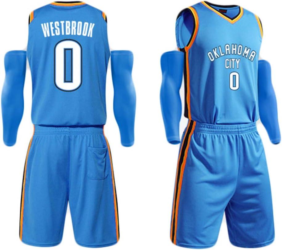 CCKWX MenS Jersey Russell Westbrook#0 Thunder Mesh Embroidered Basketball Sport Swingman Jersey Sleeveless Sport Vest Top Shorts