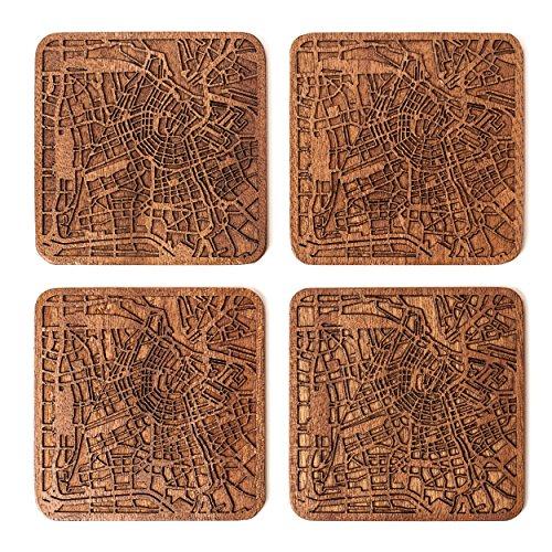 Amsterdam Map Coaster by O3 Design Studio, Set Of
