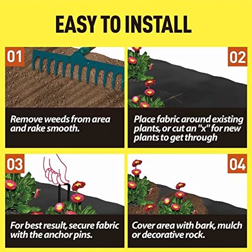 Agfabric Landscape Ground Cover 4x300ft Heavy PP Woven Weed Barrier for Vegetables,Soil Erosion Prevention and UV stabilized, Plastic Mulch Weed Block by Agfabric (Image #5)