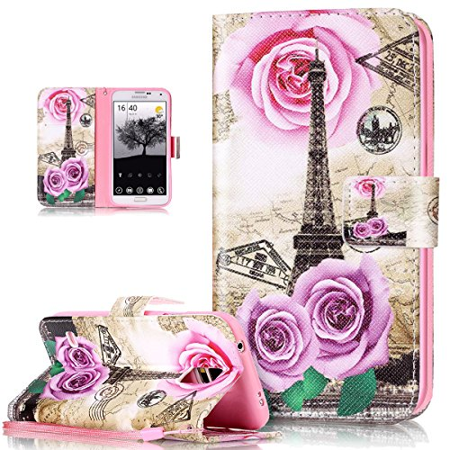 Price comparison product image Galaxy S5 Neo Case, Galaxy S5 Case, ikasus Colorful Art Painted PU Leather Fold Flip Wallet Cover Stand Card Slots Protective Case Cover for Galaxy S5 G900 / S5 Neo G903F, Flower Rose Eiffel Tower