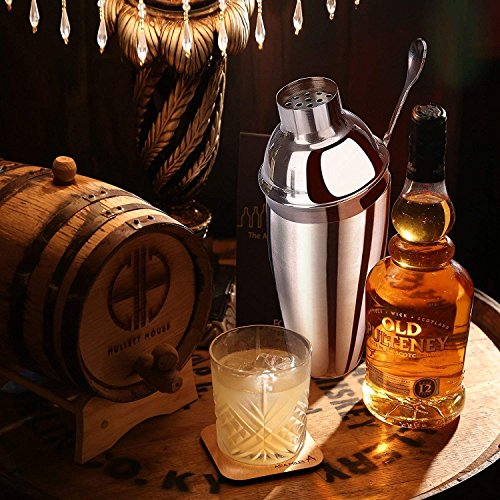 Cocktail Shaker Set Stainless Steel 6 PCS, TEPSMIGO Home Bar Cocktail Making Set Includes 24 Ounce Cocktail Shaker /10 Inch Mixing Spoon and Muddler/ Cocktail Jigger/ Liquor Pourer, Silver by TEPSMIGO (Image #3)
