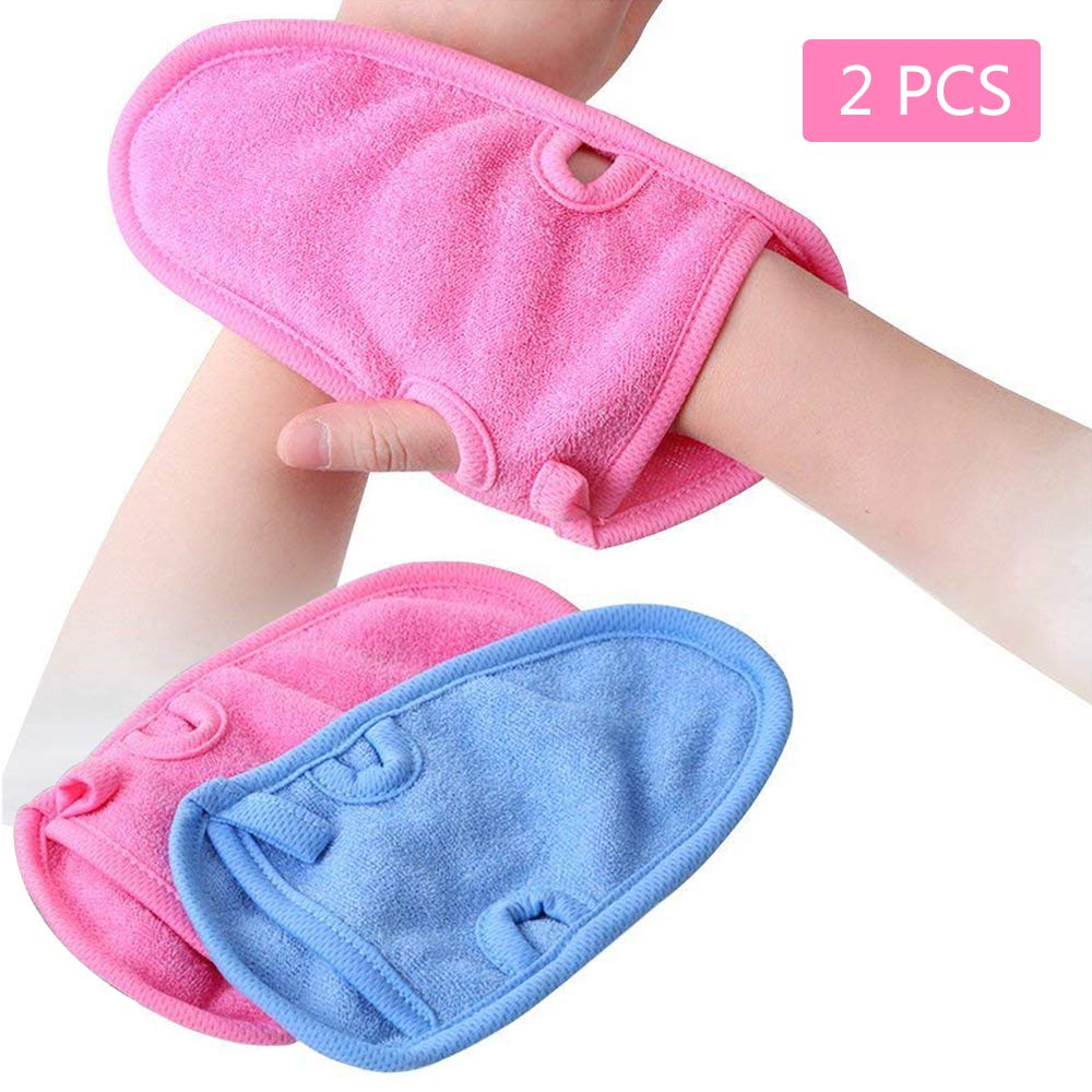 2 PCS Shower Bath Gloves Natural plant fiber Bath towel Body Scrubber for Unisex Children Adult Shower(blue+pink) SlienceTiMe