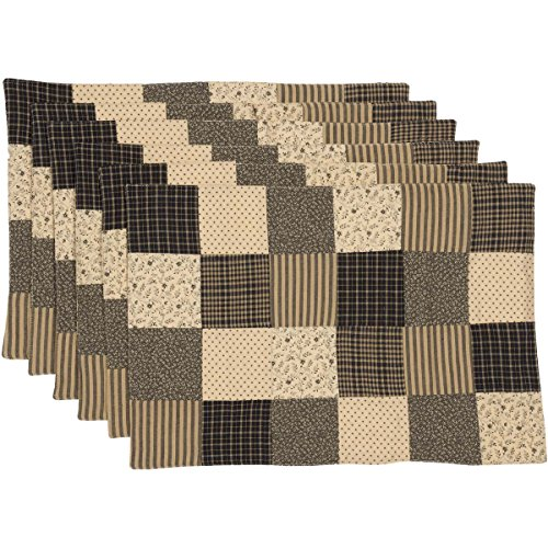 - VHC Brands Classic Country Primitive Tabletop & Kitchen - Kettle Grove Black Patchwork Blocks Placemat Set of 6