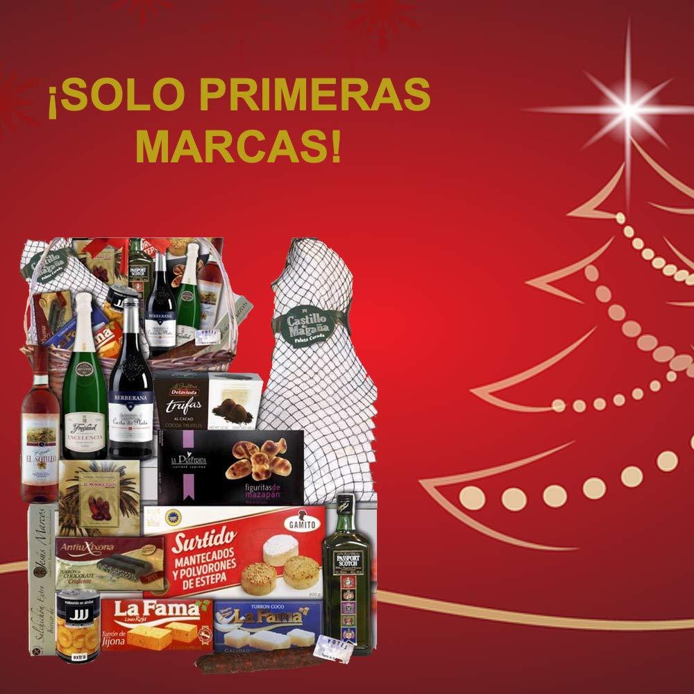 Lote de navidad con jamón/Cesta de navidad mimbre productos de primeras marcas,Paleta Serrana whisky escocés Passport, cava, vino, turrones, trufas, ...
