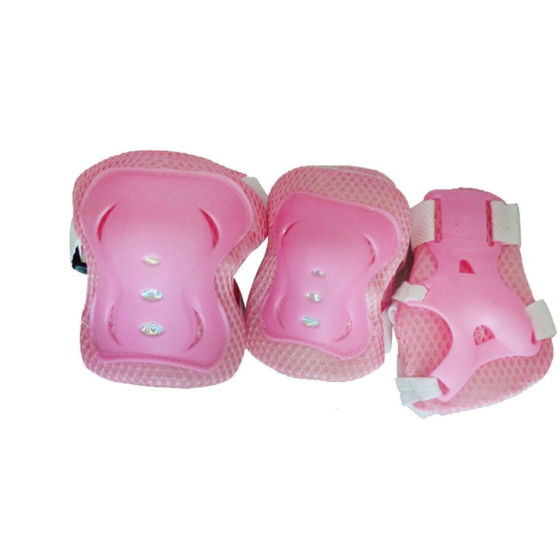 Amazon.com : eDealMax ciclo del patinaje sobre ruedas de plástico rodilla de la muñeca del codo almohadillas protectoras apoyo de la ayuda 6 en 1 Set Rosa ...