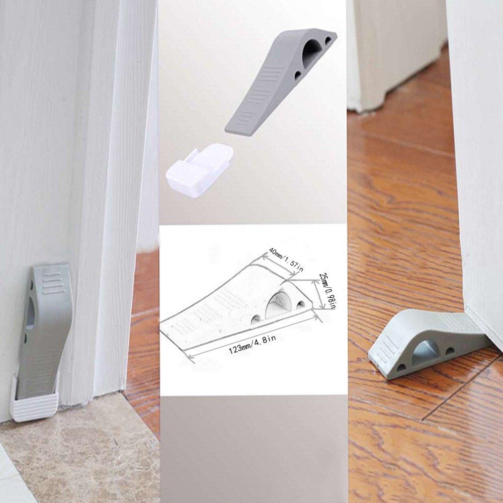 PX Home Decorative Door Stopper With Free Bonus Holders, Door Stop Works on All Floor Surfaces, Premium Rubber Door Stops(3, gray) by PX Home (Image #6)