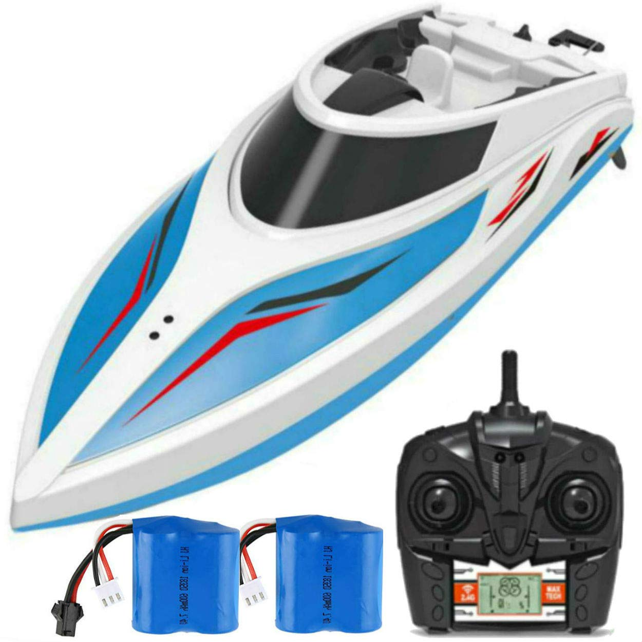 Remote Control Boats for Pools and Lakes SkyCo Rc Boat for Kids or Adults, Outdoor Adventure Pool Toys, High Speed Remote Control Boat Toy for Boys and Girls BONUS Extra Battery by SKYCO