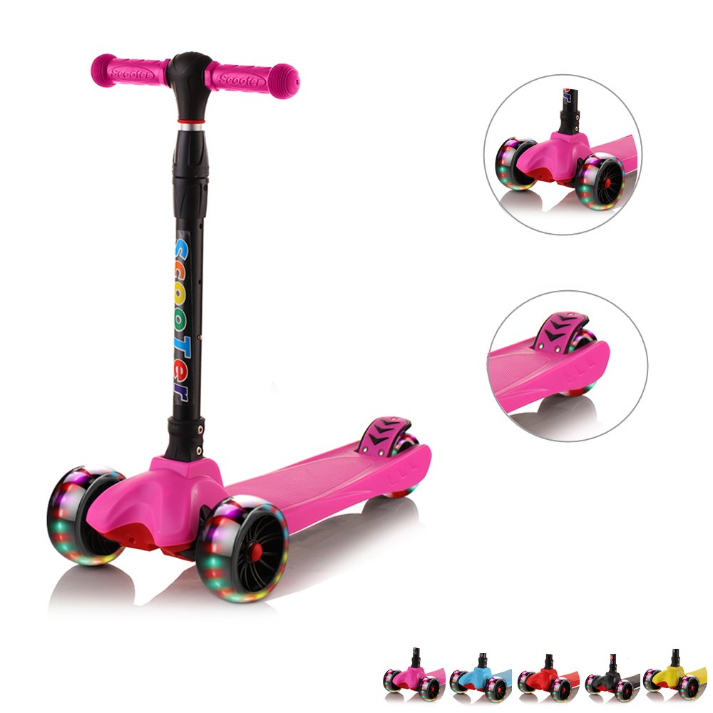67i Toddler Kids Kick Scooter 3 Wheel 4 Adjustable Height Scooter, Lean to Steer with PU LED Light Up Flashing Wheels for Children Age 3-12 Years Old (Pink)