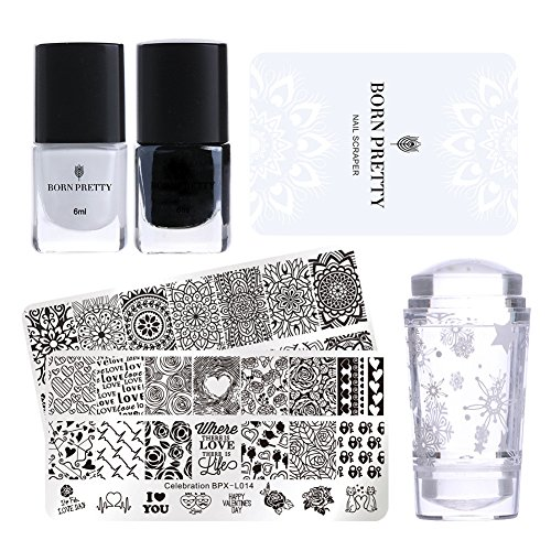 Born Pretty Valentine's Day Nail Stamping Art Set-2Pcs Image Template Black White Stamping Nail Polish with 1Pc Jelly Clear Stamper (Best Nail Polish For Stamping)
