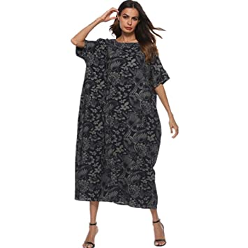 0ba8cdf30ee3f Plus Size Evening Party Wedding Club Dress for Women Half Floral Printed  Loose Linen Cocoon Black