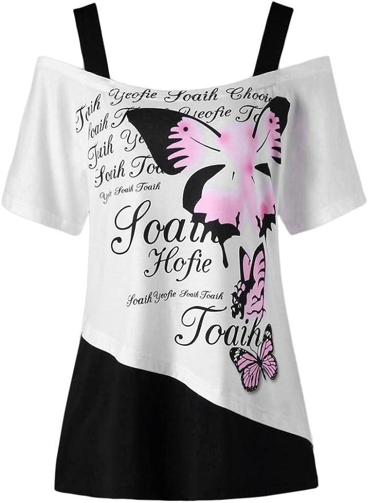 MORCHAN Femmes Papillon Impression Off /épaule Chemise /à Manches Courtes Casual Top Blouse