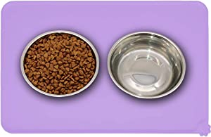 Metopets Silicone Pet Feeding Mat, Non-Slip Dog Bowl Mat for Food and Water, Cat Food Mat for Floors Waterproof, Raised Edges Placemat Tray for Dogs and Cats (Medium)