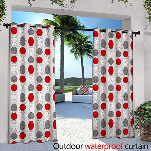 - BlountDecor Mid Century Fashions Drape W84 x L108 Big Circular Spots and Oval Shapes Combined with The Figures of Geometry Outdoor Curtain Waterproof Rustproof Grommet Drape Grey Red White