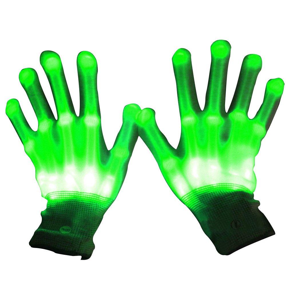 1 Par Guantes con iluminación LED, Brillantes intermitentes algodón dedo guantes de mano de luces colorida para bailar carnaval concierto Halloween Party (Verde) Gosear