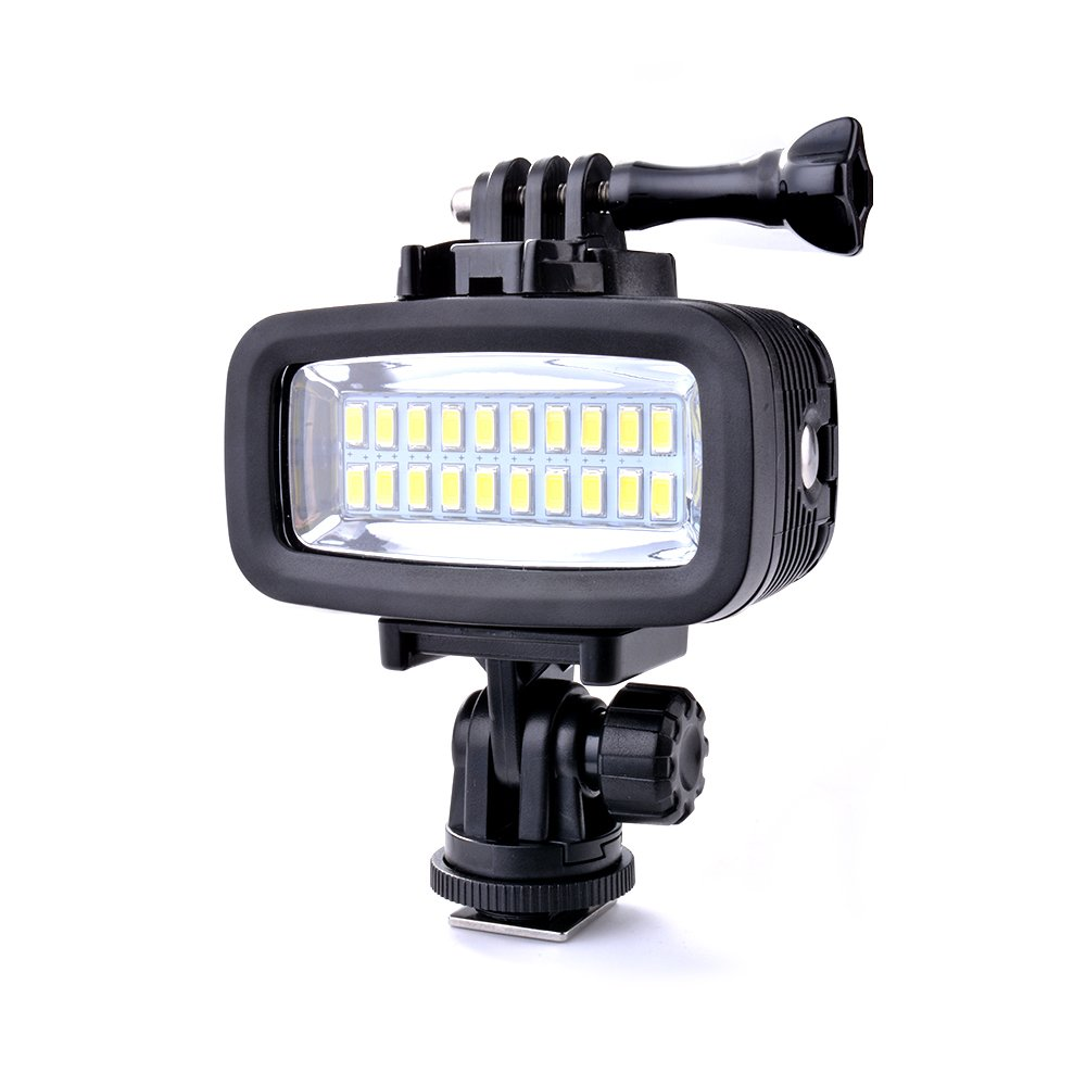 Sunix 40m Waterproof Diving Light, Rechargeable & Dimmable LED Video POV Flash Fill Light, 6W 20 LEDs 700LM with 1900mAh Built-in Rechargeable Batteries for GoPro Hero 5/4/3+/3/2/ by Sunix