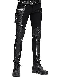 1e947dae99 Devil Fashion Mens Dieselpunk Pants Jeans Black Gothic Punk Faux Leather  Hip Bag