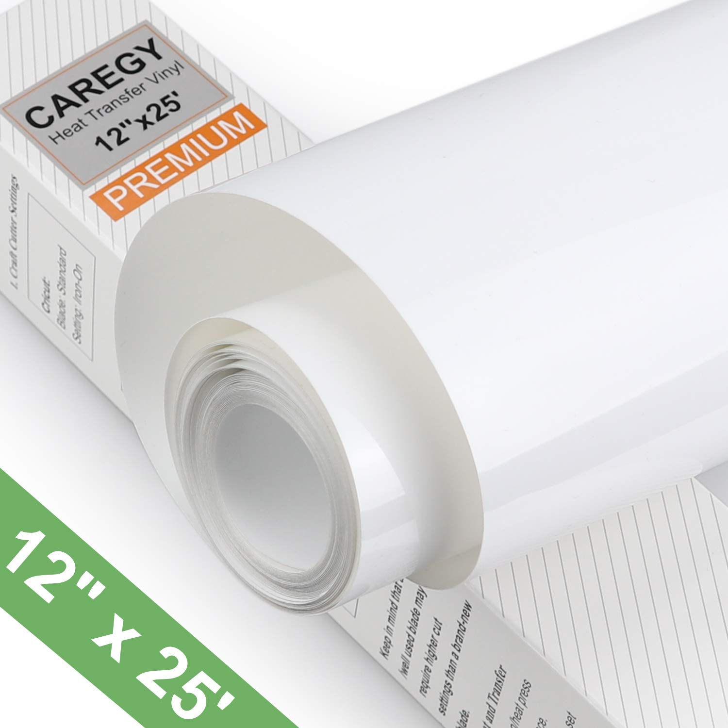 CAREGY HTV 12'' x 25ft Roll - Iron On Heat Transfer Vinyl (White) by CAREGY
