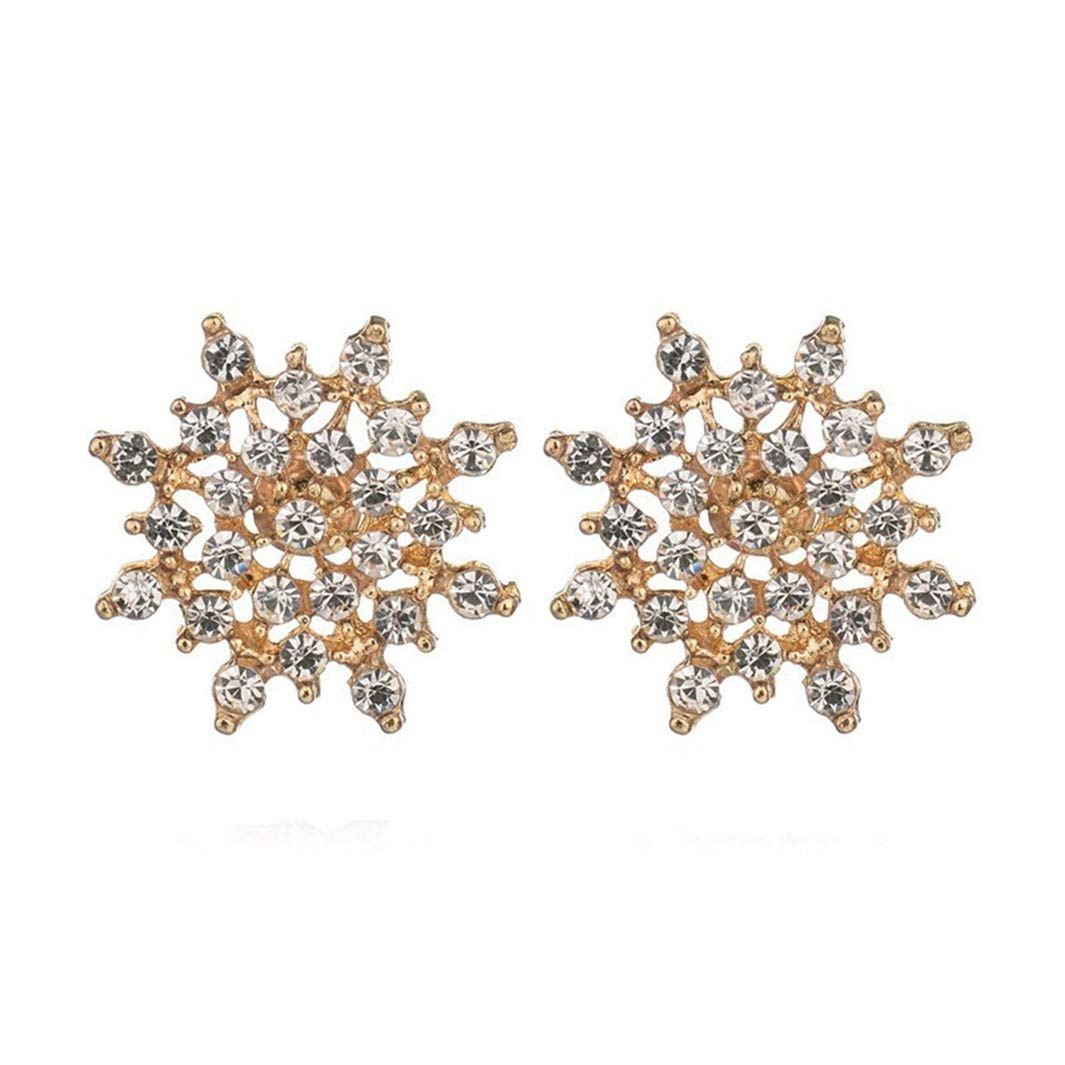 YouCY Snowflake Stud Earrings Rhinestone Snowflake Earrings Flower Elegant Stud Earrings Female Earrings Fashion Jewelry Gift for Women Girl, Gold