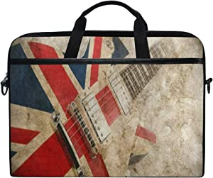 Laptop Sleeve Case,Grunge Union Jack British Guitar 14-14.5 inch Briefcase Messenger Notebook Computer Bag