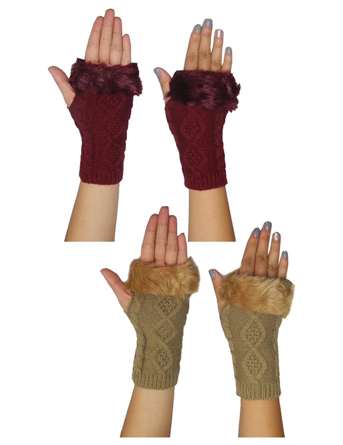 0d58e0d0d1e (Pack of 2) Womens Warm Winter Knitted Fingerless Gloves with Fluffy Faux  Fur