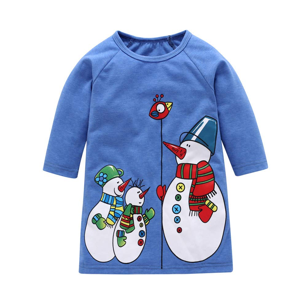 Toddler Baby Kids Girls Christmas Long Sleeve Cartoon Snowman Print Dresses Outfits