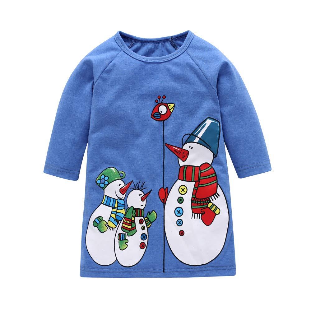 MEIbax Kleinkind Baby Mädchen Weihnachten Cartoon Schneemann Print Kleider Prinzessin Rock Outfits