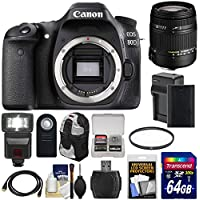 Canon EOS 80D Wi-Fi Digital SLR Camera Body with Sigma 18-250mm OS Lens + 64GB Card + Battery & Charger + Backpack + Flash + Kit Overview Review Image