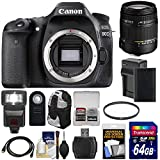 Canon EOS 80D Wi-Fi Digital SLR Camera Body with Sigma 18-250mm OS Lens + 64GB Card + Battery & Charger + Backpack + Flash + Kit