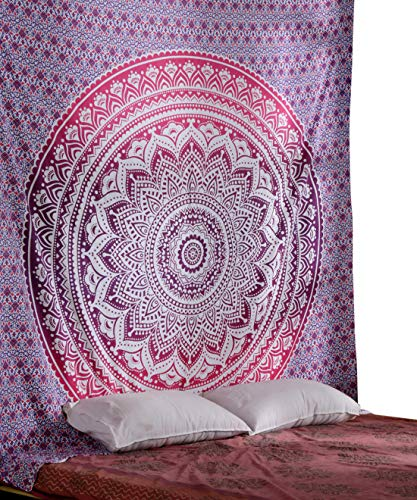 - Hippie Tapiz Mandala Wall Hanging - Cute Pink Ombre Tapestry Queen Size Cotton Bedding Bohemian Boho Bedspread wandteppich 90 x 84 Inches