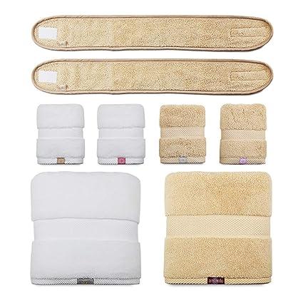 Juego de toallas (2 toallas de baño, 2 toallas de mano, 2 cintas para el pelo) ...
