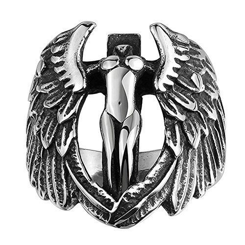 - AGOKO Mens Angel Wings Personality Retro Titanium Steel Ring(Diameter:20.8mm)