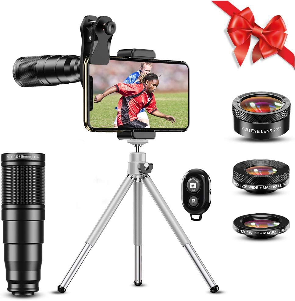 Apexel Phone Lens Kits-22x Telephoto Lens/205°Fisheye Lens/120°Wide Angle Lens&20x Macro Lens/Tripod and Remote Shutter Works with iPhone 11 Plus X XS XR Samsung Huawei