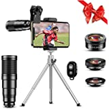 Apexel Phone Lens Kits-22x Telephoto Lens/205°Fisheye Lens/120°Wide Angle Lens&20x Macro Lens/Tripod and Remote Shutter Works