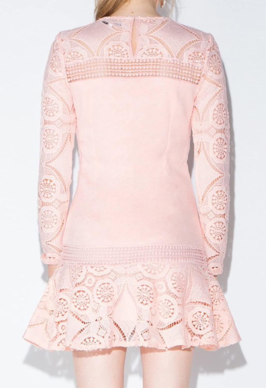 Summerwhisper Women's Sweet Crochet Hollow Out Lace A Line Dress Pink