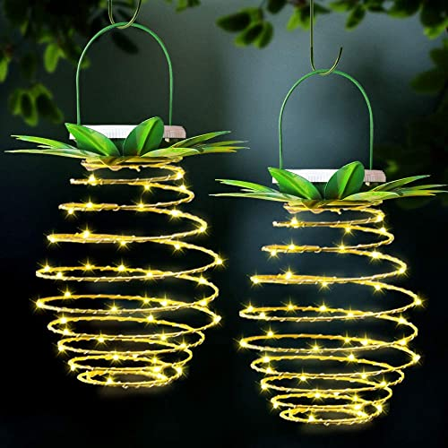 XTF2015 60LED Outdoor Decor Pineapple Solar Lights, Waterproof Led Pineapple Lantern, Copper Pineapple Solar Hanging Lights Decoration for Patio, Deck, Yard, Garden, Path, Driveway 2 Pack