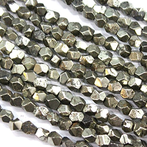 (fashiontrenda Faceted Natural Genuine Pyrite Nuggets Gemstone Beads for Jewerly Bracelet Making (5-6mm))