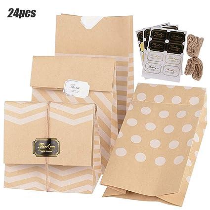 24pcs (15*9.7*27cm) Bolsas de Papel Kraft Bolsas de Regalo de Papel 4 Estilos + 24 Pegatinas + 2*5m Cuerdas Sin Asas para Navidad Boda Fiestas ...