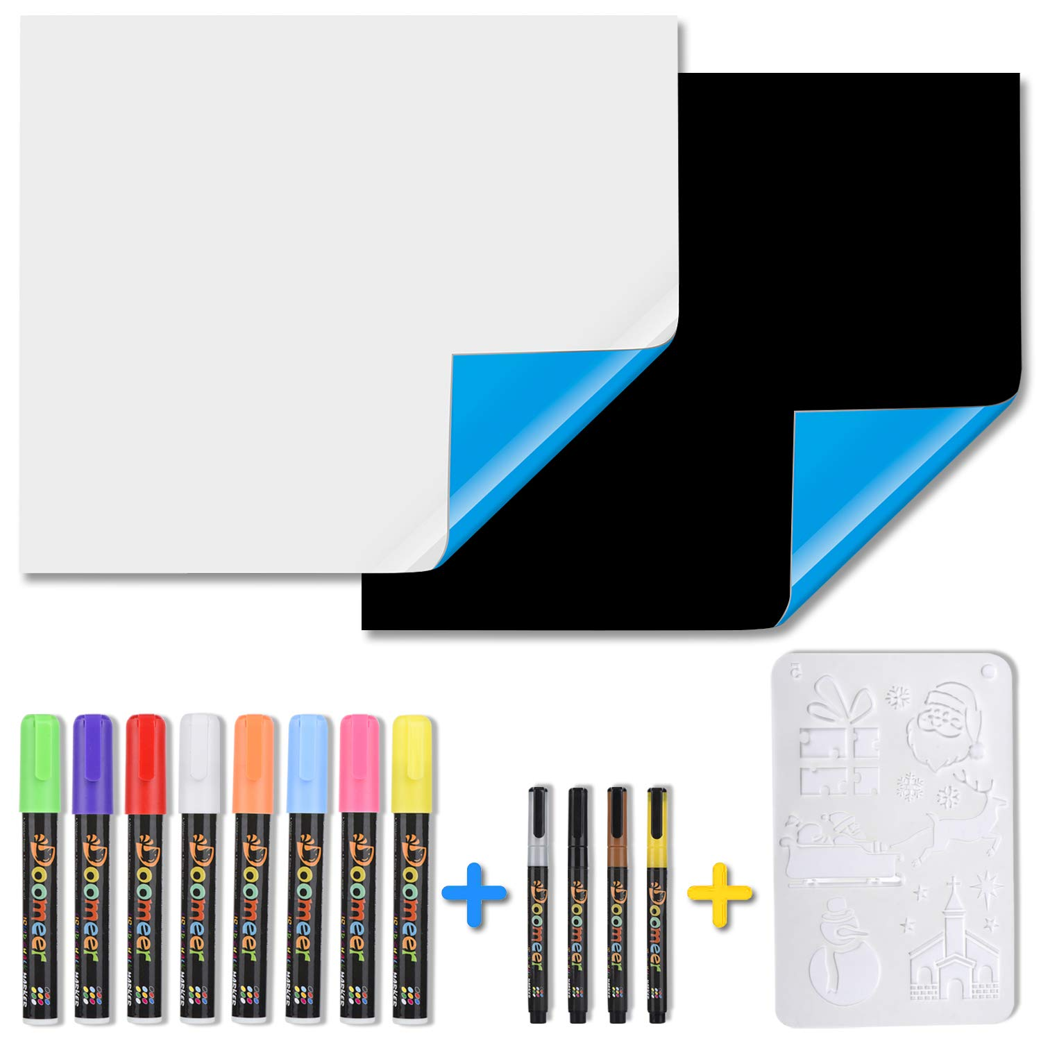 "Magnetic Whiteboard Blackboard for Refrigerator, Self-adhesive for Smooth Surface, 17.7""x 19.7"" White Board Black Board 12 Colors Liquid Chalk Markers Drawing Template Surprise Set"
