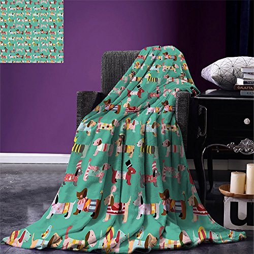 smallbeefly Dog Lover Throw Blanket Abstract Puppy Pattern with Human Clothing Fun Dress up Theme Domestic Animals Warm Microfiber All Season Blanket for Bed or Couch Multicolor