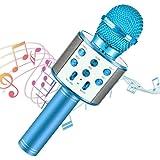 Micrófono Inalámbrico, Portátil Inalámbrica Micrófono y Altavoz del Karaoke con LED para Niños Canta Partido Musica, Micrófon