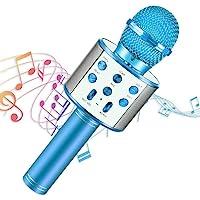 Micrófono Inalámbrico, Portátil Inalámbrica Micrófono y Altavoz del Karaoke con LED para Niños Canta Partido Musica…