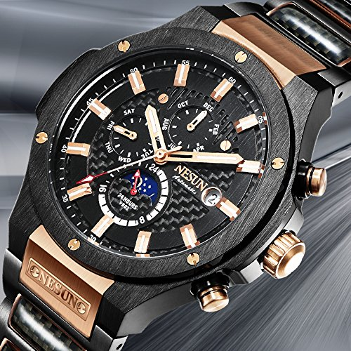 Men's Military Multifunction Automatic Mechanical Analog Stainless Steel Black Sports Luminous Watch (Rose Gold-Black) by NESUN (Image #2)