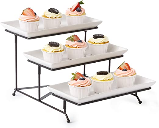 Rectangular Dessert Party Platter with Sauce Dish 3 Tier Serving Tray Stand