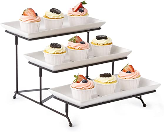 3 Tiered Collapsible Serving Stand Sturdier Rack With 3 Porcelain Serving Platters Trays Three Tier Serving Platter For Fruit Dessert Presentation Party Display Set Amazon Co Uk Kitchen Home