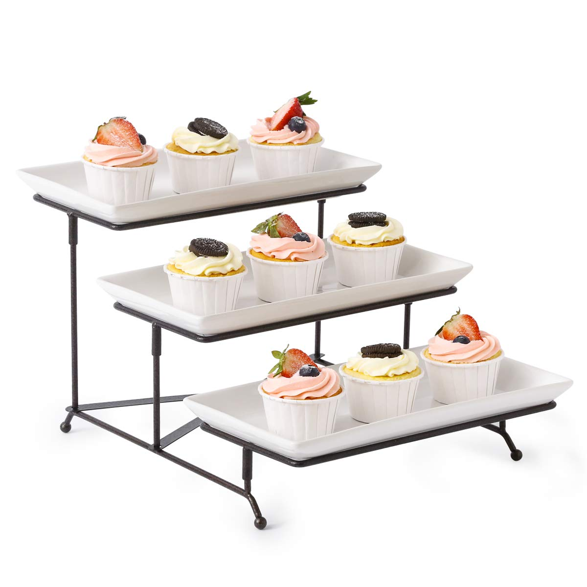 3 Tier Serving Stand Collapsible Sturdier Rack with 3 Porcelain Serving Platters Tier Serving Trays for Fruit Dessert Presentation Party Display Set by LAUCHUH