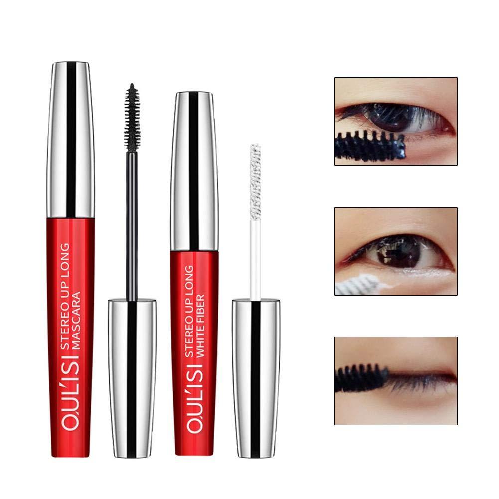2 PCS/Pack Waterproof Mascara False Lash Effect Máscara, Eye Mascara Long Lash Free Clump, Blackest Eyelashes Black Mignon84Cook