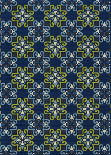 Granville Rugs Coastal Indoor/Outdoor Area Rug, Ivory/Blue/Green/Brown, 6' 7 x 9' 6