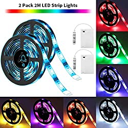 Solmore Led Strip Lights Battery Operated 2m 6 6ft 5050 Smd 60leds Color Changing Rgb Led Light Strip Flexible Led Strip Kit Waterproof Strip Lighting For Home Bedroom Diy Party Indoor Outdoor 2pcs