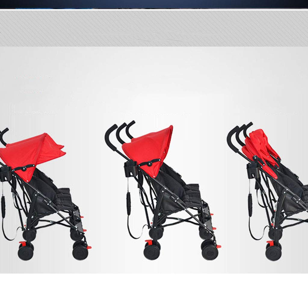 OCYE Double Stroller, Double Stand Stroller, Lightweight Folding Three-Speed Adjustable Awning Detachable Five-Point seat Belt Double Cup Holder by OCYE (Image #3)