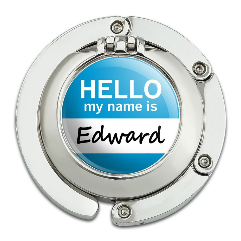 Edward Hello My Name Is Foldable Table Bag Purse Caddy Handbag Hanger Holder Hook with Folding Compact Mirror